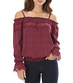 A. Byer Off-Shoulder Lace Top