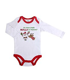 Cuddle Bear® Baby Boys' Long Sleeve My Xmas Relatives Creeper