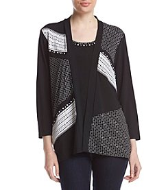 Alfred Dunner® Petites' Saratoga Springs Two For One Mixed Media Top