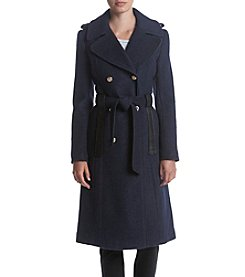 GUESS Belted Wool Notch Collar Button Detail Coat