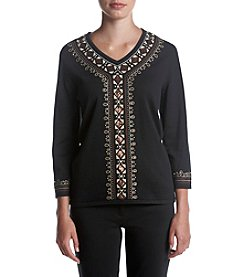 Alfred Dunner Center Border Sweater