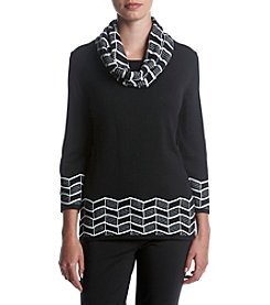 Alfred Dunner® Pattern Cowl Neck Sweater