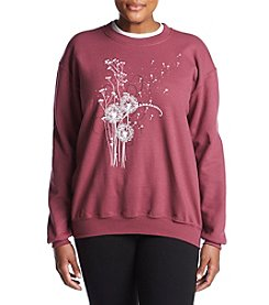 Breckenridge Plus Size Velvet Floral Heart Fleece