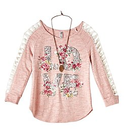 Beautees Girls' 7-16 Three Quarter Sleeve Lace Trim Love Top