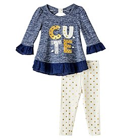 Nannette® Baby Girls' Dyed Dot Top And Leggings Set