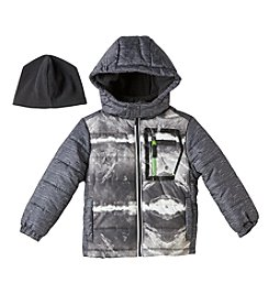 London Fog® Boys' 4-7 Hooded Puffer Jacket And Hat