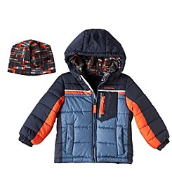 London Fog® Boys' 2T-4T Colorblock Puffer Jacket With Hat