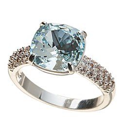 City x City Silvertone Cushion Cut Crystal Ring
