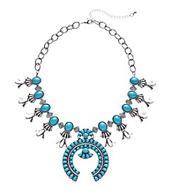 Ruff Hewn Sivertone Turquoise Cabochon Collar Necklace