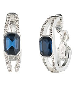 Anne Klein® Silvertone Clip Hoop Earrings with Sapphire Stone