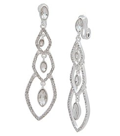 Anne Klein® Silverstone Pave Linear Clip Earrings