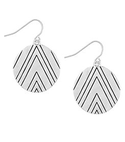 The Sak® Silvertone Etched Disc Drop Earrings