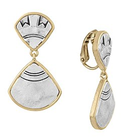 The Sak® Silvertone Double Drop Fan Clip Earrings