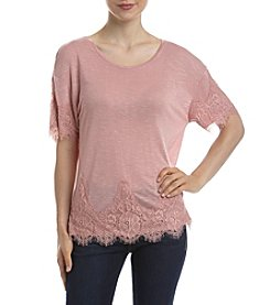 Eyeshadow® Lace Trim Drop Shoulder Tee
