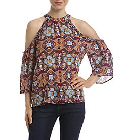 Eyeshadow® Mock Neck Cold Shoulder Top