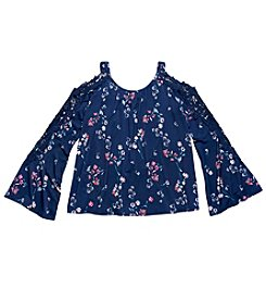 Jessica Simpson Girls' 7-16 Cold Shoulder Aura Flower Lace Top