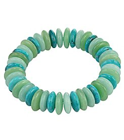 Designs by FMC Multi Green Stone Disc Stretch Bracelet