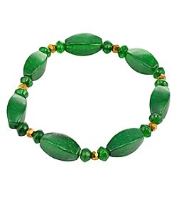 Designs by FMC Green Quartz Oblong Bead Stretch Bracelet