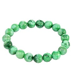 Designs by FMC Faceted Green Agate Stretch Bracelet