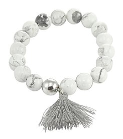 Designs by FMC Sterling Silver And Howlite Stretch Bracelet