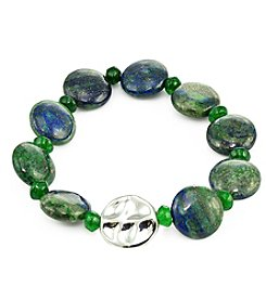 Designs by FMC Sterling Silver And Green Agate Stretch Bracelet