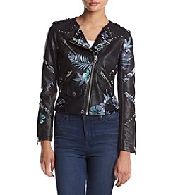 BLANKNYC® Floral Digital And Stud Moto Jacket