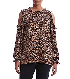 Cupio Plus Size Animal Print Ruffled Cold Shoulder Top