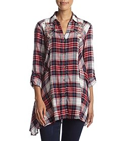 Vintage America Blues™ Ries Plaid Embellished Tunic Top
