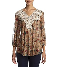 Vintage America Blues™ Smoke Printed Lace Top