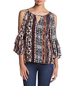 A. Byer Printed Stripe Cold Shoulder Top