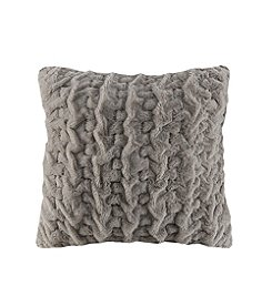 Madison Park Ruched Fur Euro Pillow