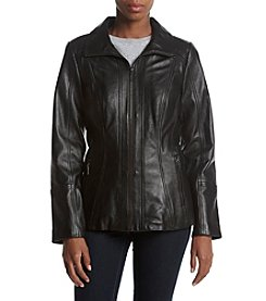 Anne Klein Wing Collar Leather Jacket