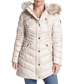Laundry Petites' Cinched Side Faux Fur Hooded Coat