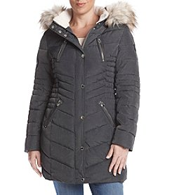 Laundry Petites' Faux Fur Hood Vertical Quilted Coat