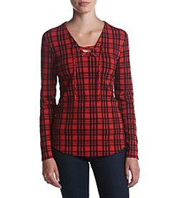 Ruff Hewn Lace Up Plaid Long Sleeve Tee