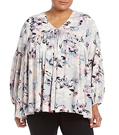 Chelsea & Theodore® Plus Size Floral Pleat Front Woven Top