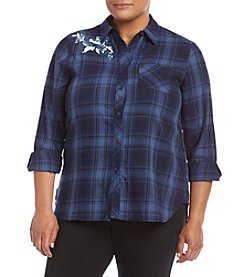 Hippie Laundry Plus Size Plaid Embroidered Rose Shirt