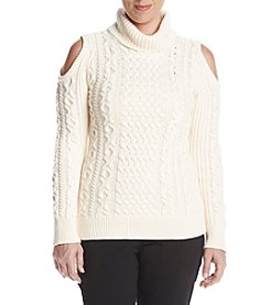 Ruff Hewn Petites' Cold Shoulder Turtleneck Sweater