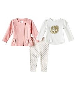 Cuddle Bear® Baby Girls' 12-24 Months 3 Piece Love Top Jacket And Pants Set