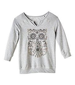 Miss Attitude Girls' 7-16 3 Quarter Sleeve Banded Owl Top