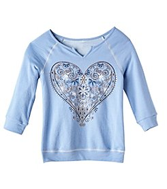 Miss Attitude Girls' 7-16 Three Quarter Sleeve Banded Heart Sweatshirt