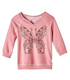 Miss Attitude Girls' 7-16 Banded Butterfly Sweatshirt