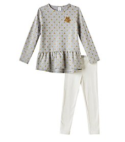 Carter's Girls' 3M-8 Owl Patch Dress And Leggings Set