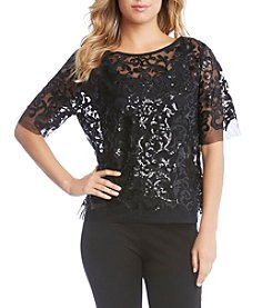 Karen Kane Sequin Lace Mesh Top