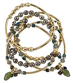 Relativity® Goldtone Faceted Bead And Bar Stretch Bracelet Set