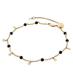Michael Kors Goldtone and Black Pearl Anklet