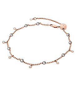Michael Kors® Rose Goldtone and Grey Pearl Anklet