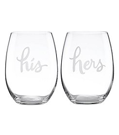 kate spade new york® His And Hers Stemless Wine Glasses