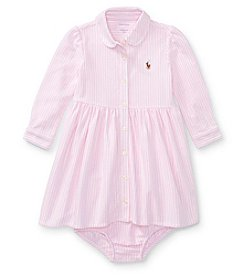 Ralph Lauren® Baby Girls' Long Sleeve Stripe Dress With Bloomers
