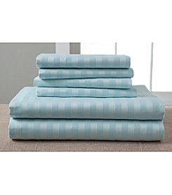 Elite Home Products 1200-Thread Count Cotton Rich Luxury Estate Woven Stripe Bonus Sheet Set®